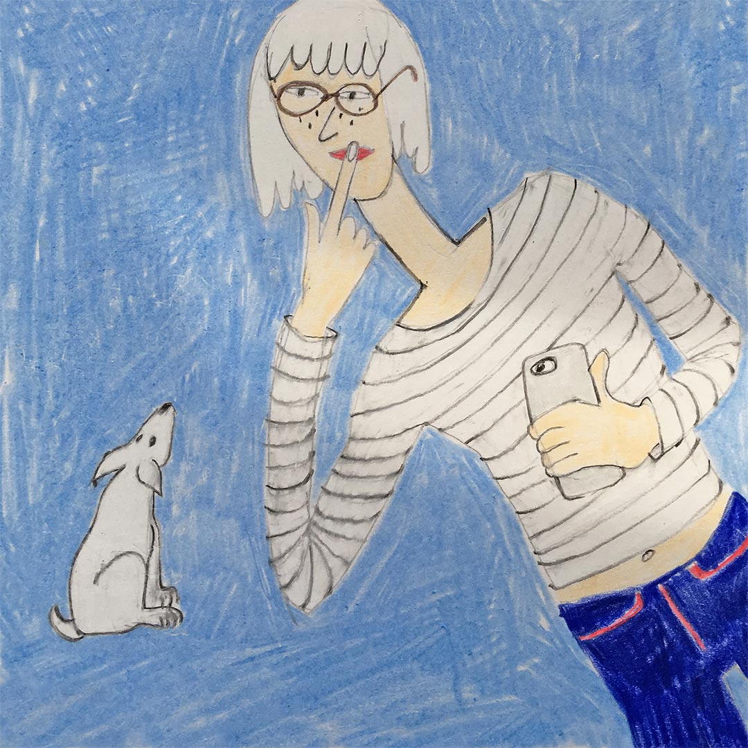 illustration of a young girl holding her smartphone, with her index finger on her lips while her puppy looks up at her.